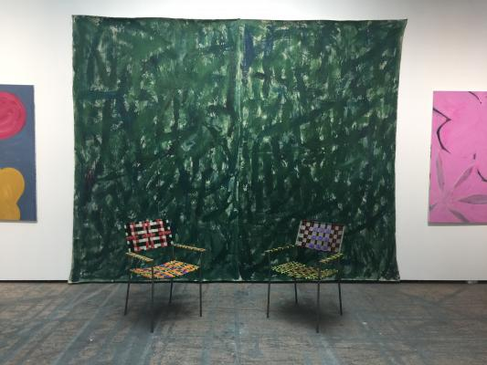 Painting by Tamuna Sirbiladze and chairs from Franz West at Charim Galerie during Art Berlin Fair.