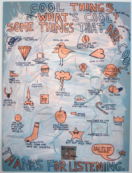 2012, Cool Things, acrylic, string, pencil on canvas, 260 x 195cm