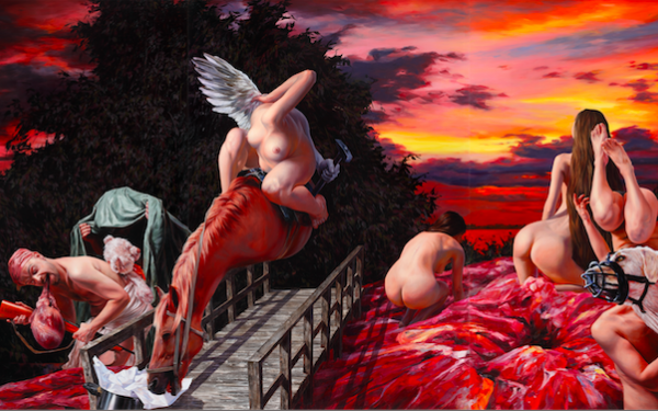Nguyen Xuan Huy, Waiting until the Sun sets, 2015, oil on canvas, 220 x 450 cm, Courtesy Galerie Rothame