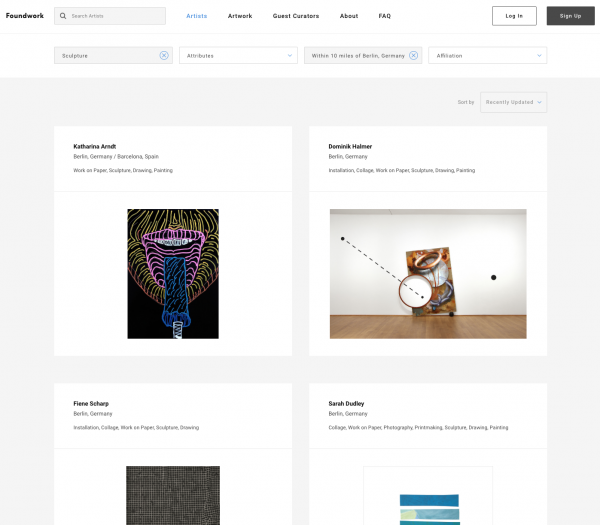 artist research landing page