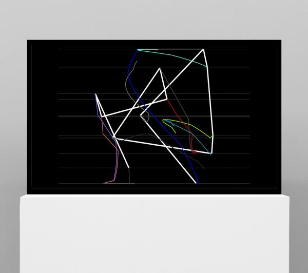 Manfred Mohr, P2210, Artificiata II - traces, computer-generated real-time algorithmic animation, 2014-2015