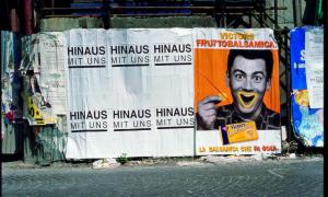 Image Credit: Peter Friedl, HINAUS MIT UNS, 1993, Turin, Poster, je 120 x 70 cm, Courtesy the artist